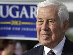 Sen. Richard Lugar: meets with voters outside of a polling location Tuesday, May 8, 2012, in Greenwood, Ind. Lugar is being challenged by two-term state Treasurer Richard Mourdock.