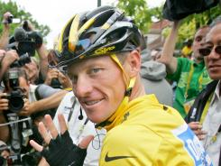 Seven consecutive victories: Lance Armstrong at the Tour de France in July 2005.