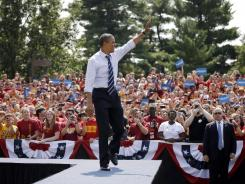 President Obama greets the crowd Tuesday at Iowa State University.