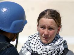 American peace activist Rachel Corrie speaks during an interview with MBC Saudi Arabia television on March 14, 2003, in Gaza.