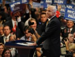 Arizona Sen. John McCain greets the crowd during his acceptance speech at the 2008 Republican National Convention in St. Paul.