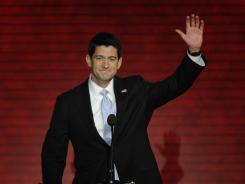 Paul Ryan walks to the podium at the Republican National Convention Wednesday night in Tampa.