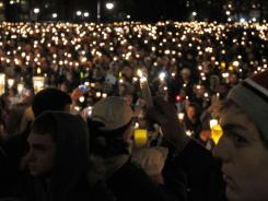 A candlelight vigil on Penn State's campus to support victims of child sex abuse.