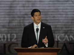 Republican vice presidential nominee, Rep. Paul Ryan of Wisconsin, speaks at the Republican National Convention on Wednesday night in Tampa.