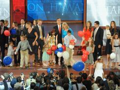 The Romney and Ryan families appear on stage at the close of the Republican National Convention on Thursday night in Tampa.