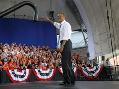 President Obama waves to supporters after giving a speech in Charlottesville, Va., Wednesday.