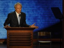 Clint Eastwood uses an empty chair to represent President Obama as he has a one-sided conversation on stage at the Republican National Convention Thursday night in Tampa.