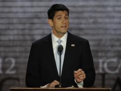 GOP vice presidential nominee Paul Ryan speaks at the Republican National Convention on Wednesday.