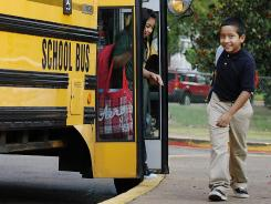 First day of school: Students arrive Monday at Raguet Elementary School in Nacogdoches, Texas.