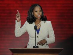 Congressional candidate Mia Love of Utah addresses the GOP convention Tuesday.