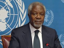 Kofi Annan during a press conference on August 2 at the United Nations office in Geneva.