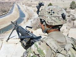 The small black device seen on this soldier's helmet is a blast gauge. The small, self-contained system measures the amount of blast to which a warfighter has been exposed.