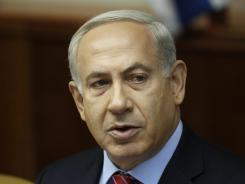 Israeli Prime Minister Benjamin Netanyahu attends the weekly cabinet meeting at his offices on Sunday in Jerusalem.