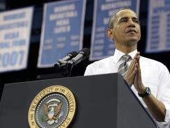 President Obama is shown speaking at the University of North Carolina at Chapel Hill in April. UNC Young Democrats have launched an ambitious get-out-the-vote effort.