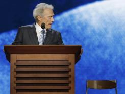 "Clint Eastwood introduced Mitt Romney Thursday night at the Republican National Convention with a 12-minute improvisation that included an ""interview"" with an empty chair purportedly occupied by an invisible President Obama."