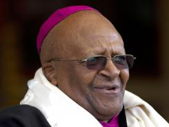Archbishop Desmond Tutu, who was awarded the Nobel Peace Prize for his part in fighting apartheid, speaks in Dharmsala, India, on Feb. 10.