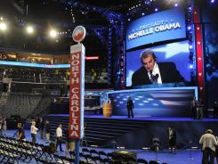 Preparations for the Democratic National Convention move forward on Tuesday at the Time Warner Cable Arena in Charlotte.