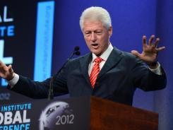 Former president Bill Clinton addresses a global conference in May in Beverly Hills.