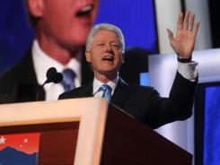 Former president Bill Clinton addresses the 2008 Democratic National Convention in Denver.