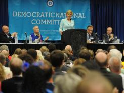 Guests and members of the LGBT (Lesbian Gay Bisexual Transgender) Caucus listen Tuesday to Tammy Baldwin, Democratic Senate candidate in Wisconsin, at the Democratic National Convention in Charlotte.