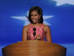 First lady Michelle Obama speaks at the Democratic National Convention in Charlotte on Tuesday.