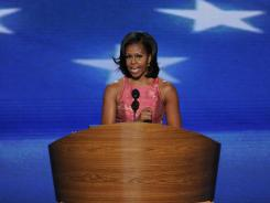 First lady Michelle Obama speaks Tuesday night at the Democratic National Convention in the Time Warner Cable Arena in Charlotte.