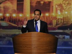 Mayor Julian Castro of San Antonio, Texas, speaks at the Democratic National Convention Tuesday night in Charlotte.
