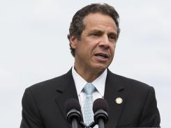 New York Gov. Andrew Cuomo speaks to the media on Aug. 20 before his immediate signing of a new letter of intent to replace the state's aging Tappan Zee Bridge.