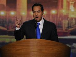 San Antonio Mayor Julian Castro delivers the keynote address at the Democratic National Convention in Charlotte on Tuesday.
