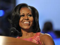 First lady Michelle Obama delivers her remarks to the Democratic convention Tuesday night in Charlotte.