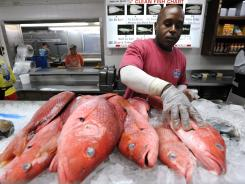 Employee Terrance Williams of Joe Patti's Seafood stocks a display cooler with red snapper.