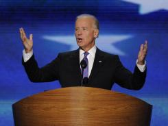 Vice President Biden gives his acceptance speech Thursday night at the Democratic National Convention in Charlotte.