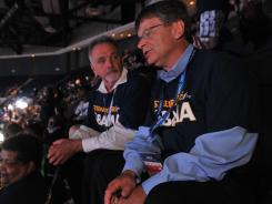 James Carver, a United Steel Worker union member from Georgetown, Tenn., left, and Dan Flippo, of Birmingham, Ala., a USW director in the southeast, are part of a group of some 60 USW members in attendance for the third and final night of the DNC in Charlotte.