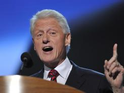 Former president Bill Clinton addresses the Democratic National Convention in Charlotte on Thursday.