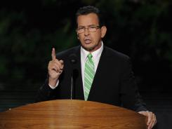 Connecticut Governor Dannel Malloy addresses the Democratic National Convention in Charlotte on Wednesday.
