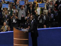 President Obama accepts the Democratic Party's nomination Thursday night in the Time Warner Cable Arena in Charlotte.