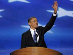 President Obama accepts his party's nomination to be president of the United States for another four-year term on the third and final night of the Democratic National Convention in Charlotte, N.C., on Thursday.