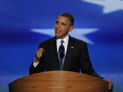 President Obama gives his acceptance speech Thursday night at the Democratic National Convention in Charlotte.