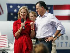 Mitt and Ann Romney appear at a departure rally on Aug. 31 in Lakeland, Fla., the day after the conclusion of the Republican National Convention.