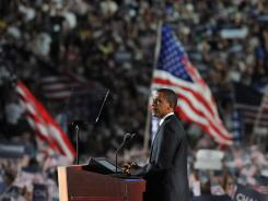 Barack Obama accepts the Democratic presidential nomination Aug. 28, 2008, at Mile High Stadium in Denver.
