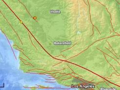Neither the earthquakes near Fresno (orange dot, upper left) nor the ones near Los Angeles (orange dot in L.A.) were on the San Andreas Fault (thick red line).