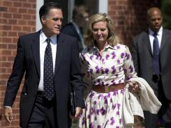 After Sunday service: Republican presidential nominee Mitt Romney and his wife, Ann, leave the Church of Jesus Christ of Latter-day Saints in Wolfeboro, N.H.