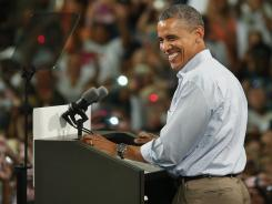 President Obama addresses a campaign event Sunday at the Florida Institute of Technology in Melbourne.