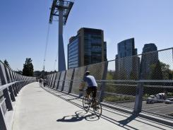 The SW Gibbs street pedestrian bridge, which links bike and pedestrian traffic from SW Gibbs street over the freeway to South Waterfront in Portland, Ore.