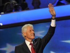 Former president Bill Clinton addresses the Democratic National Convention on Wednesday in Charlotte.