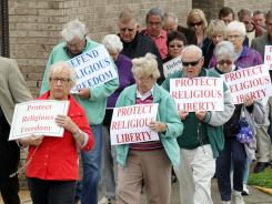 Protesters against the contraception mandate.