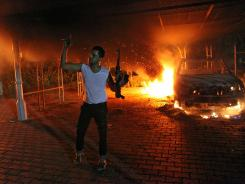 A protester outside the U.S. Consulate in Benghazi, Libya.