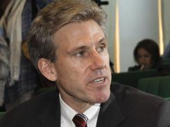 Christopher Stevens meets with leaders in Benghazi, Libya, in April 2011.
