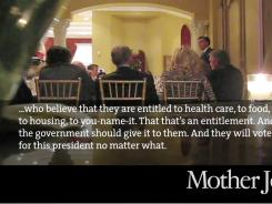In this video framegrab from a video provided by Mother Jones Video, Mitt Romney speaks at a $50,000-a-plate fundraiser at a Florida fundraiser.