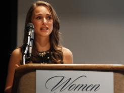 Actress Natalie Portman speaks at the Obama for America's Ohio Women Vote 2012.